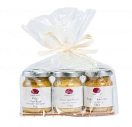 Brettgeschenk 3x Liliput-Glas Senf Selektion Geschenkset - PPK43-7 (Gourmet Berner) - Feinkost Pohl